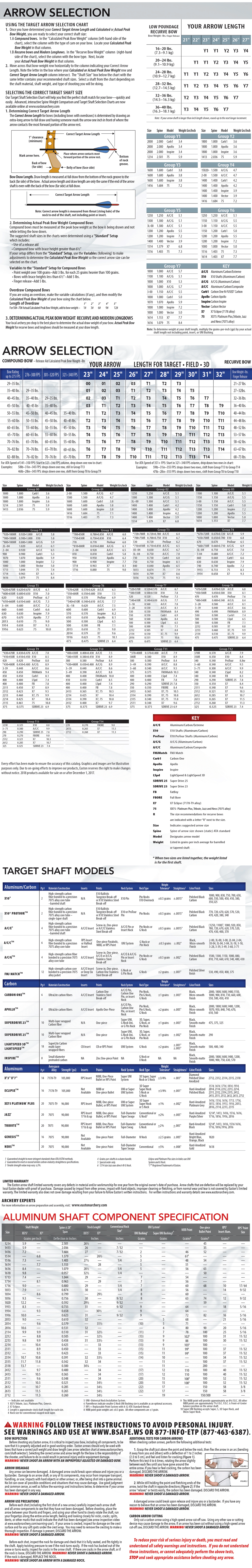 2017 Easton Target Arrow Selection Chart