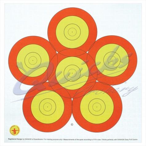 Danage 40cm 6 spot target face : DT65RoundelDT65