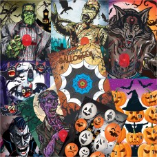 Egertec Halloween Novelty Faces : Pack of 10 assorted : GT32
