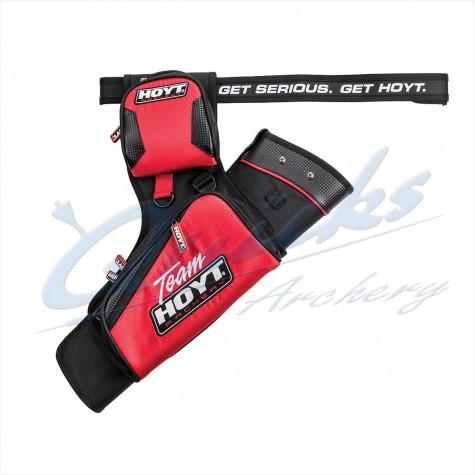 Team Hoyt Target Hip Quiver : Red/Black only : Includes Belt RH / LH Reversible : HQ40Quivers & BeltsHQ40