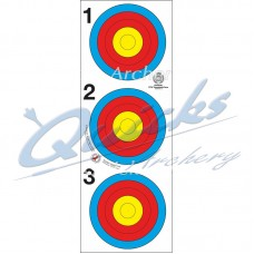 Target Face 40cm Bjorn Vertical 3 spot face Recurve 10 ring only (Pack of 100) DISCOUNTED PRICE : IT50