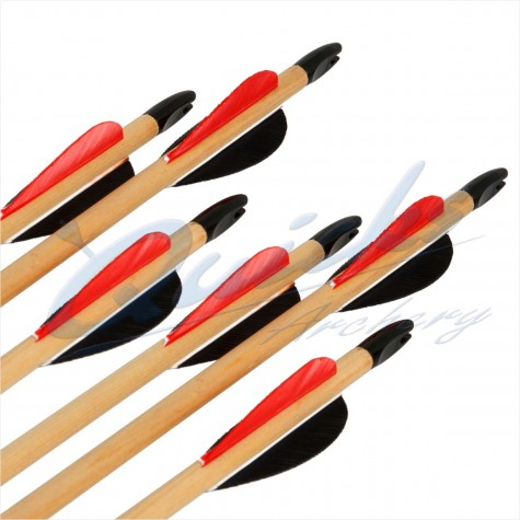 Longshot Standard Wooden Arrows for Lighter Bows (set of 12) : QS61Wooden ArrowsQS61X12