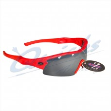 Rayzor Sports Sunglasses Ventz Model R1220RESM Red frames smoke lens : RC22bkgr