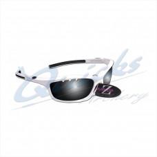 RC05wh Rayzor Sports Sunglasses Finz Model  RI401WTSM  White frames smoke lens