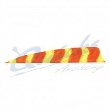 ZF55 Trueflight Barred Feathers Shield 4 Inch Orange & Yellow Stripe (per doz)