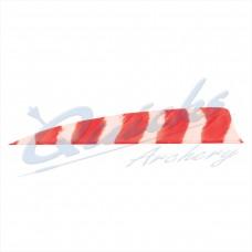 ZF55 Trueflight Barred Feathers Shield 4 Inch Pink & White Stripe (per doz)