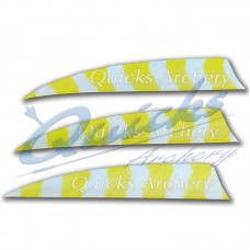 ZF55 Trueflight Barred Feathers Shield 4 Inch White & Yellow Stripe (per doz)
