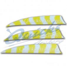ZF55 Trueflight Barred Feathers Shield 4 Inch White & Yellow Stripe (per doz)