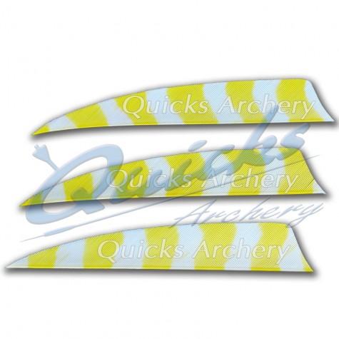 Trueflight Barred Feathers Shield 4 Inch White & Yellow Stripe (per doz) : ZF55FeathersZF55 4.0YEWH